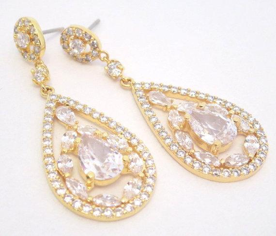 Gold Bridal Earrings, Art Deco Wedding Earrings, Chandelier ...