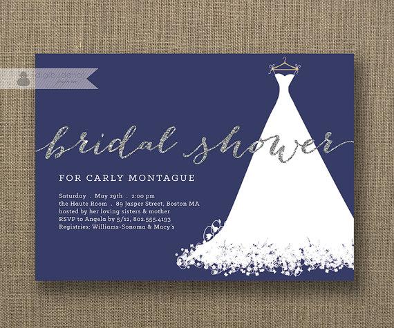 زفاف - Silver Glitter Bridal Shower Invitation Wedding Gown White Text Navy Blue Modern Sparkly FREE PRIORITY SHIPPING or DiY Printable - Carly