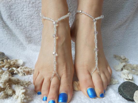 زفاف - Barefoot Sandals Beach Wedding   Yoga Shoes Foot Jewelry  Beads Crystal