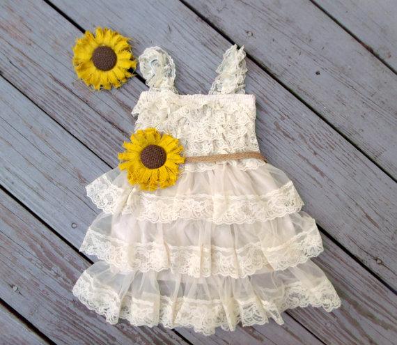 زفاف - Sunflower Flower Girl Dress-Sunflower Wedding-Sunflower Dress-Country Flower Girl Dress-Rustic Flower Dress-Sunflower Headband