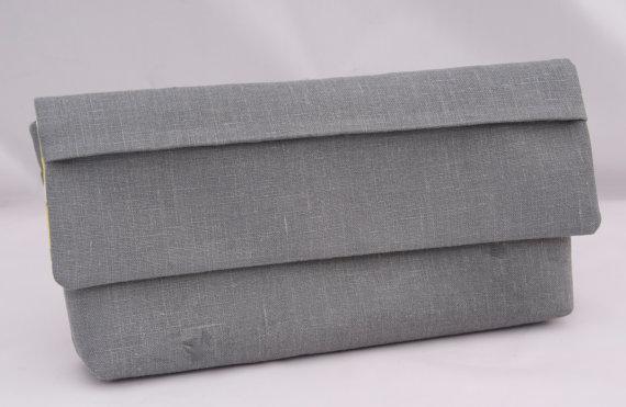 زفاف - Dark Gray Linen Clutch with pleated flap perfect Wedding Party Gift for Bridesmaids Design your own Clutch Set in various linen colors