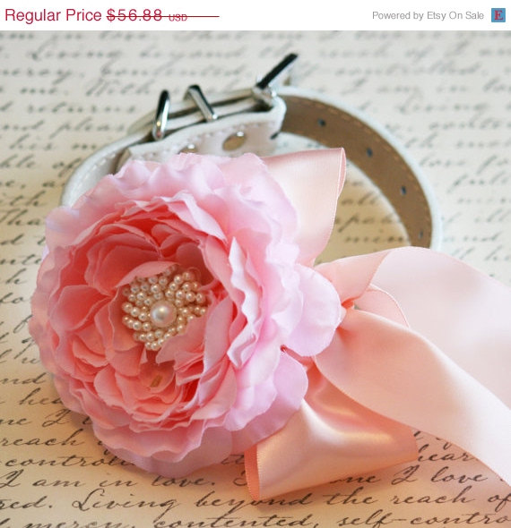 Mariage - Pink Blush Floral Dog Collar, Pet Wedding Accessory, Pink Lovers, Dog Birthday Accessory, Pink, Blush and Pearls