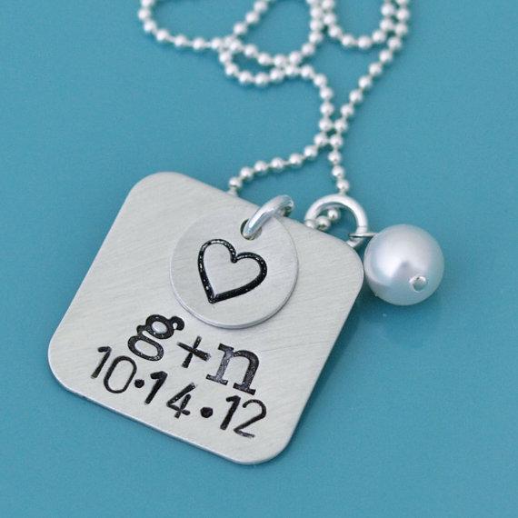 زفاف - Hand Stamped Wedding Necklace, Engraved Anniversary Necklace, Couples Anniversary Personalized Necklace, Wedding Date, Engagement Jewelry