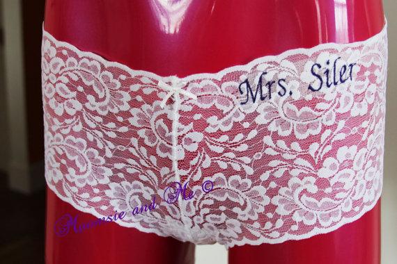 Свадьба - Monogram Bridal Lace Panties - Personalized  Bridal Lace Cheekies - Bridal Lingerie -  Customized Bridal Panties