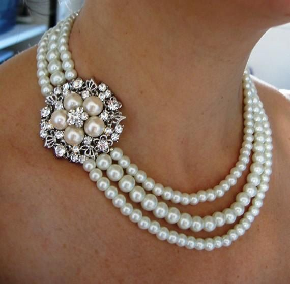 Mariage - Bridal Necklace, Pearly Necklace ,wedding Necklace - Ivory Swarovski Pearls And Rhinestone Necklace,pearl Bridal Jewelry
