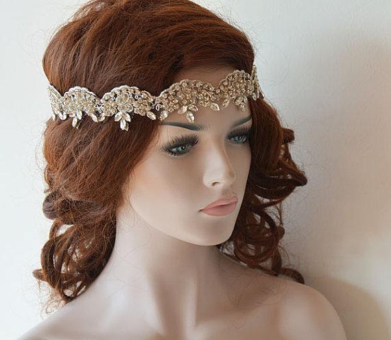 Boda - Bridal Headband, Wedding Headband, Rhinestone and Lace Headband, Wedding Headpiece, Wedding Hair Accessory, Bridal Hair Accessories