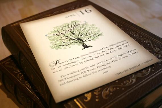 sample vintage book wedding invitation rustic tree invitation