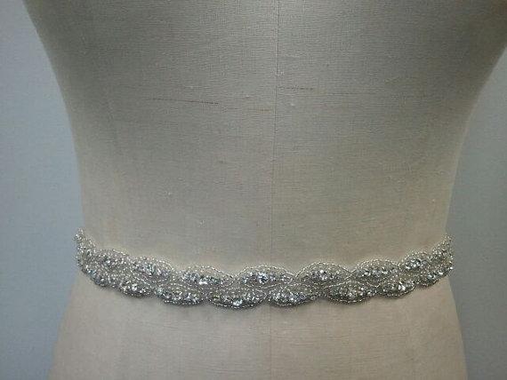 زفاف - SALE - Wedding Belt, Bridal Belt, Sash Belt, Crystal Rhinestone Belt- Style B175