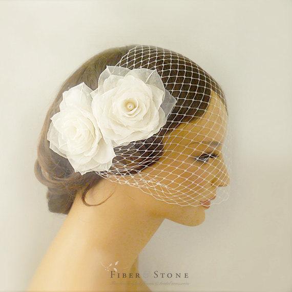 زفاف - Birdcage Veil, Cage Veil, Flower Wedding Veil, Pure Silk Flower Wedding Headpiece, Blusher Veil, Fascinator Headpiece, Floral Bridal Veil,