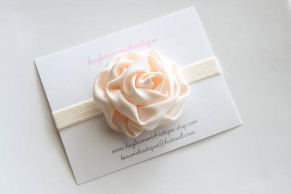 زفاف - Cream Satin Flower Headband - Ivory - Off White - Hair Accessory - Photo Prop - Wedding - Baptism - Toddler Headbands - Newborn Headbands