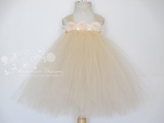 Свадьба - Champagne Flower Girl Tutu Dress Baby Girls Toddler Empire Beige Tea Length Waist Long Flower Girl Dress Tulle  Dress by American Blossoms