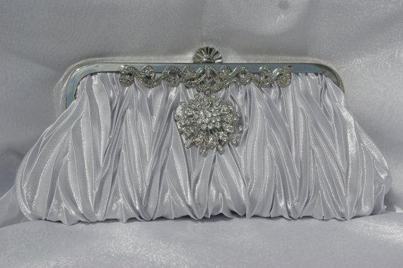 Hochzeit - Silver Bridal Clutch - Crystal Bridal Clutch - Silver Formal Bridal Handbag - Silver Clutch Silver Evening Clutch Wedding  Bridesmaid Clutch