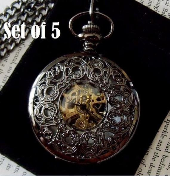Свадьба - Set of 5 Black Filigree Pocket Watches with Chains Groomsmen Gift Wedding Pocketwatch