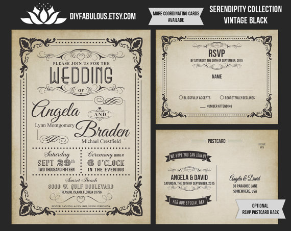 New Serendipity Collection Vintage Wedding Invitation Printable Rustic Suite Shabby Chic