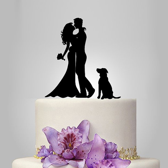 Mariage - wedding Cake Topper Silhouette,  your dog Wedding Cake Topper, Bride and Groom Cake Topper, mr mrs wedding cake topper, acrylic cake topper