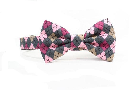 Свадьба - Argyle Dog Bow Tie Collar Pink Grey Wedding Dog Bowtie Adjustable
