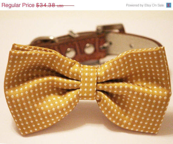 Свадьба - Dog Bow Tie -Mustard Bow tie with high quality Brown leather, Chic and Elegant, Wedding Dog Accessory