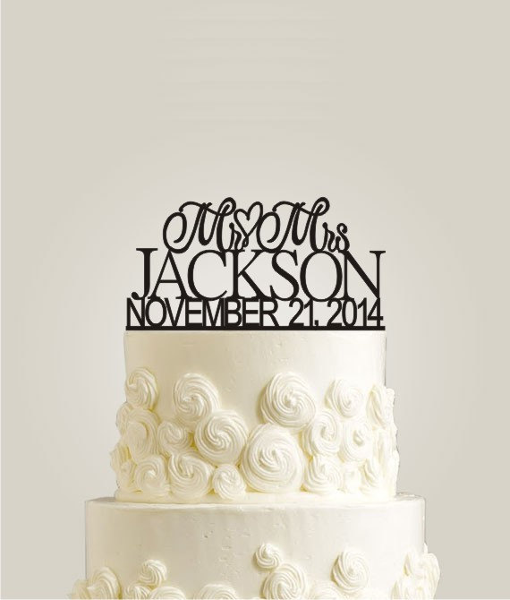 Custom Wedding Cake Topper Personalized Monogram Cake Topper