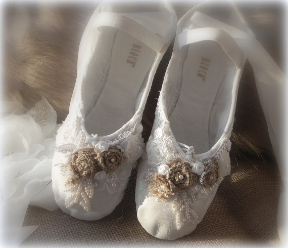 Bridal Slippers Ballet Wedding Burlap And Lace Custom Designed Made To Order Vintage