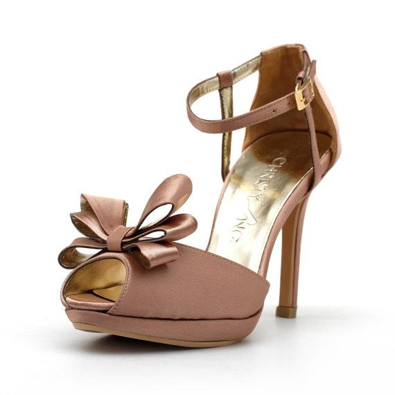 زفاف - Custom Made Wedding Heels, Blush Wedding Heels with Front Bow, Blush Wedding Shoes, Blush Wedding Heels