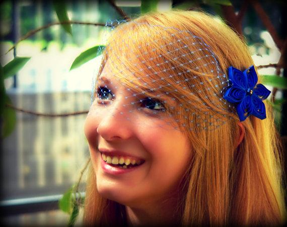 Mariage - Blue Veil and 2 Hair Clips, Blue Birdcage Veil, Blue Blusher Veil, Blue Wedding Veil, Blue Veil