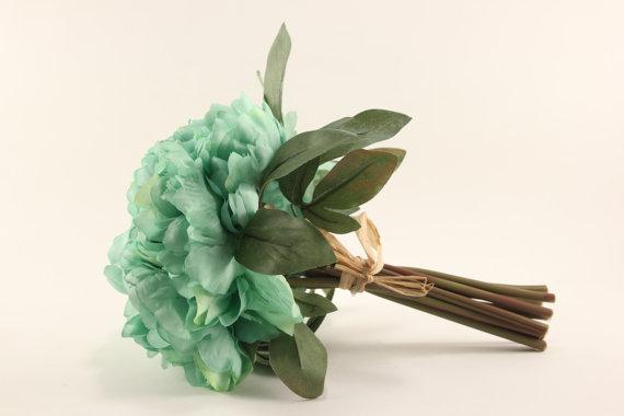 زفاف - Mint Peony Bouquet - Silk Flowers - Wedding Bridal - tossing bouquet - wedding, bridal, party, bridesmaids