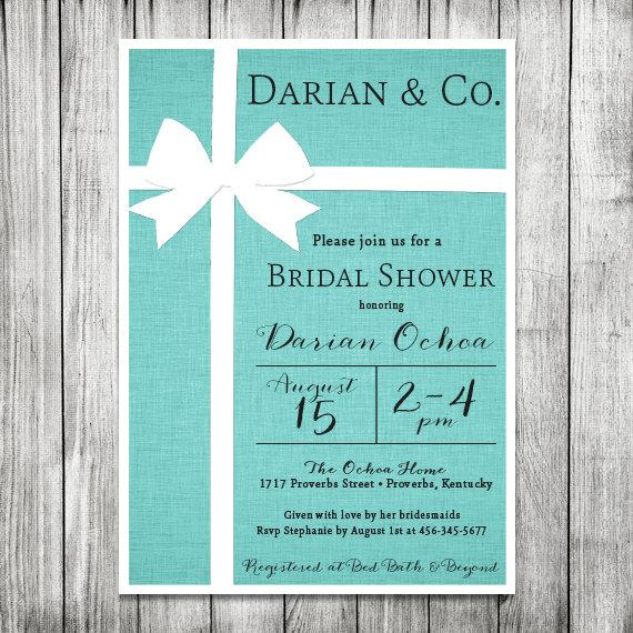 Bridal Shower Invitation - Tiffany & Co. Inspired - Tiffany Blue Invite - 5x7 JPG #2268089 ...
