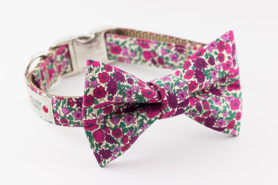 Свадьба - Berry Floral Dog Bow Tie Collar with Nickel Buckle - Liberty of London