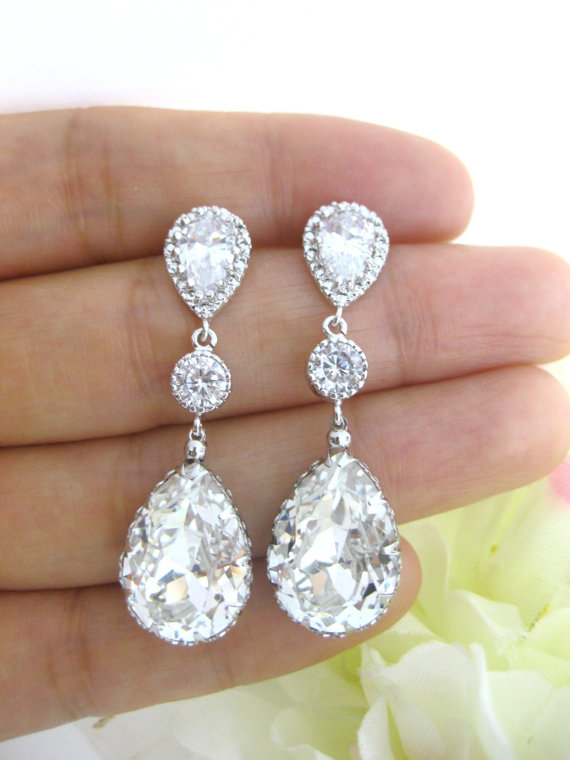Wedding - Swarovski Clear White Crystal Teardrop Dangle Earrings Wedding Jewelry Bridesmaid Gift Bridal Earrings Bridesmaid Earrings S (E063)