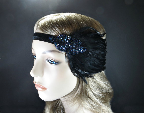 Wedding - Great Gatsby Headpiece, The 1920's Headband, Gatsby Headband Art Deco Headpiece, Wedding Flapper Headband, Bridal Party, Gatsby Event