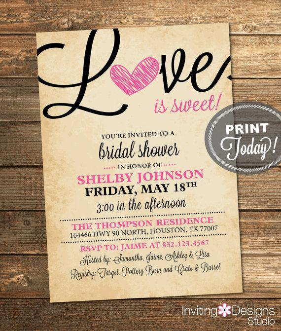 Mariage - Bridal Shower Invitation, Love, Heart, Black, Pink, Rustic, Valentines, Sweet, Candy Theme, Printable File (Custom Order, INSTANT DOWNLOAD)