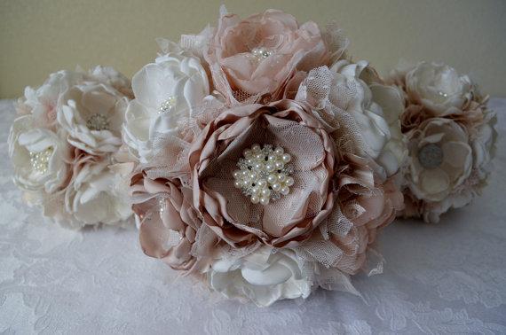 Свадьба - Bridal Bouquet - Champagne, Ivory, Cream, Off-white, Nudes - Vintage Style Bouquets, Fabric Bouquet, Heirloom Bouquet, Keepsake Bouquet