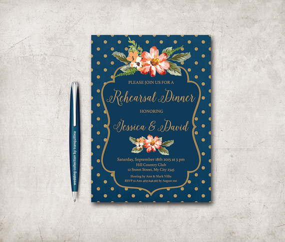 Mariage - Floral Wedding Rehearsal Dinner Invitation Printable, Digital File - Gold & Blue Wedding Rehearsal Invite