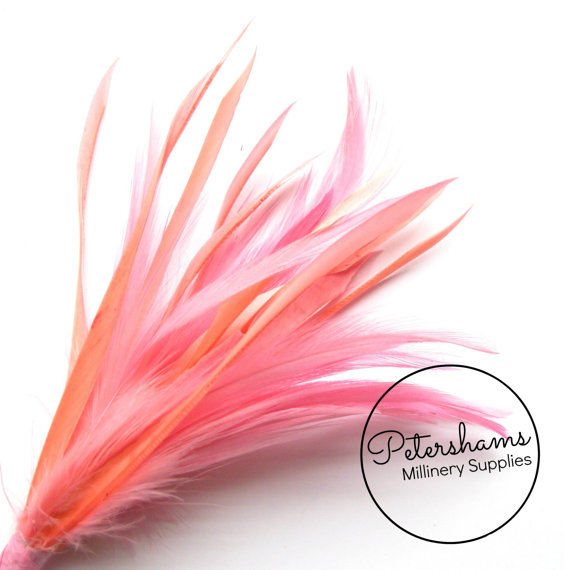 Wedding - Goose Biot & Hackle Feather Hat Mount Trim for Fascinators, Wedding Bouquets and Hat Making- Flamingo Pink