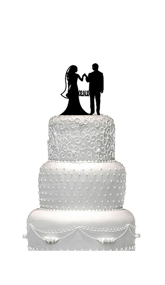 Свадьба - Bride and groom cake top, Wedding cake topper,  bride and groom wedding cake top,  acrylic wedding cake top,  silhouette wedding cake topper