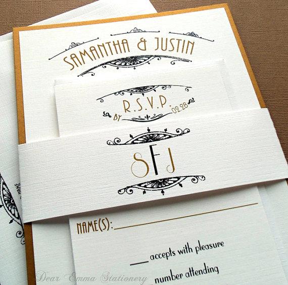 Mariage - Parisian Nouveau Wedding Invitations Set - Art Deco, Art Nouveau, Nautical - Black and Gold Suite - sample only