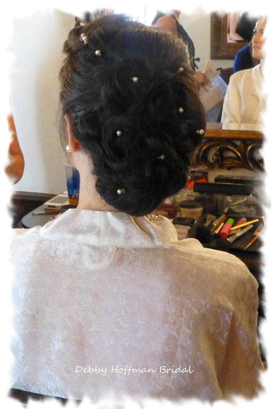 Wedding - Cream (Ivory) or White Swarovski Crystal Pearl Bridal Hair Pins, Wedding Pearl Bobby Pins, Set of 12, Wedding Hair Accessories, Head Pins