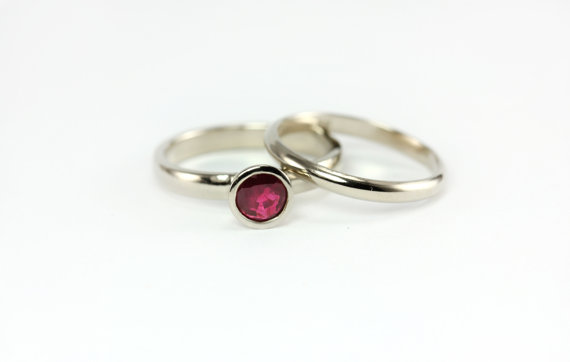 Mariage - AAA Natural Red Ruby Princess Ring Set - Wedding Band Engagement Ring Set Promise Ring - Custom Made - 14k Palladium White or Yellow Gold