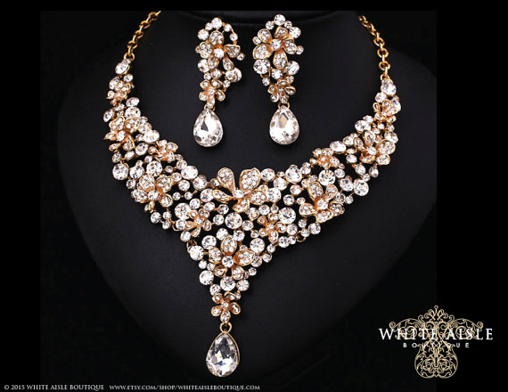 Crystal Wedding Jewelry Set Gold Statement Necklace Vintage