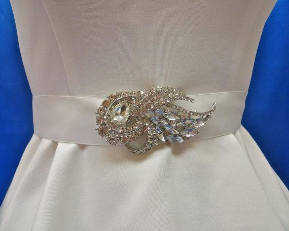 Wedding - Rhinestone Bridal Sash, Wedding Gown Accessory, Bridal Crystal Sash,  Bridal Rhinestone Belt
