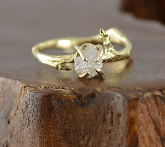 Mariage - Uncut Diamond Engagement Ring, 14k Gold