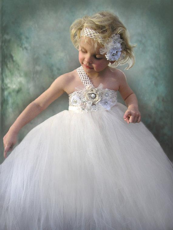 Mariage - flower girl dress, Ivory Flower Girl Tulle Dress in sizes newborn to 12 years old custom made