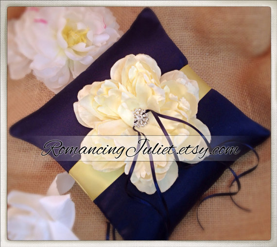 Mariage - Romantic Bloom Ring Bearer Pillow with Crystal Rhinestone Accents..shown in navy blue/butter yellow/ivory
