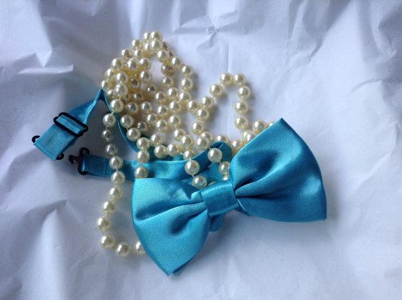 Mariage - Full Size Malibu Blue Bow Tie...Adult or Older Boys, Teen...,Weddings,RingBearer, Formal Wear, RingBearer