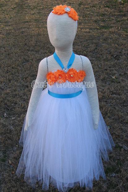 Wedding - White Tutu Dress With Orange Shabby Flowers Turquoise Sash Wedding Birthday 12 Month- 4T Flower Girl Dress Tutu Dress