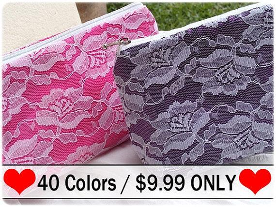 Wedding - Pretty Rose Lace Bridesmaid Gift, lace bridesmaid clutch, lace clutch- Zipper lace purse, Lace pouch , Lace Clutch