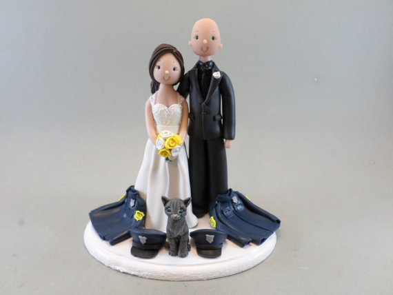 Bride & Groom Police Officers With A Cat Personalized Wedding Cake ...