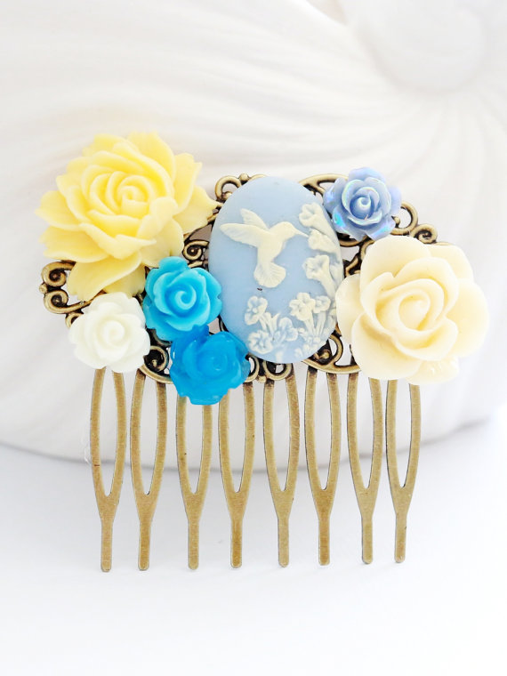 Wedding - Blue Wedding Bridal Hair Comb. Blue Rose,Bird,Ivory Flowers Collage Hair Comb, Bridal Bridesmaid Comb,Something blue,Bee,Butterfly,Wedding