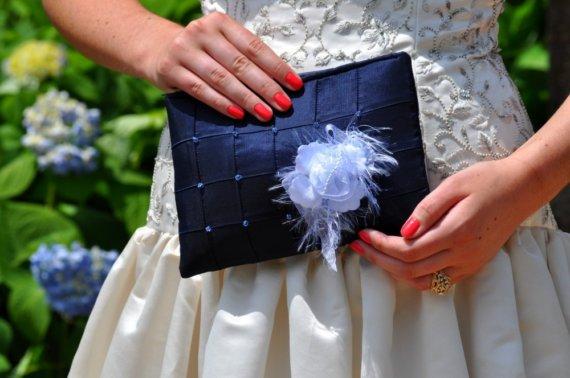 Свадьба - Clutch - The Lily Viola Clutch - Deep Blue, bridal bridesmaids beaded bag, wedding purse, something blue, mother of the bride groom bag