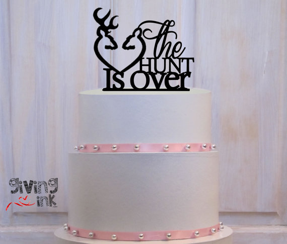 Wedding - The Hunt Is Over Hunting Wedding Cake Toppers Buck and Doe Heart - Rustic Wedding Deer Cake Topper for Sportsman Wedding